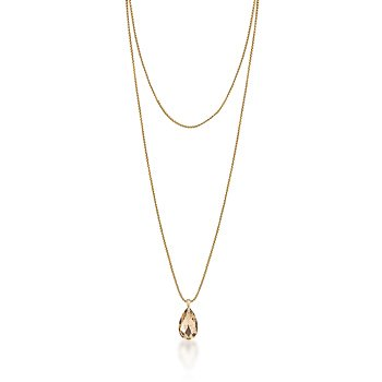 14K Gold Chain Necklace Champagne Pendant