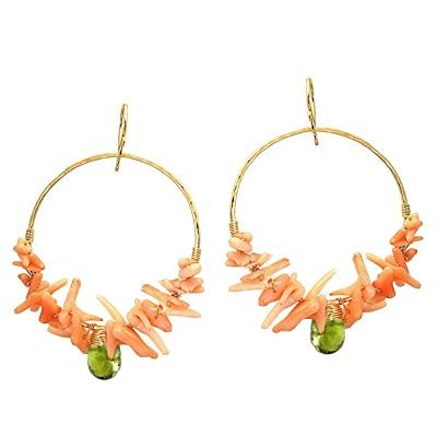 14K Gold Filled Pink Coral Idocrase Hoop Earrings
