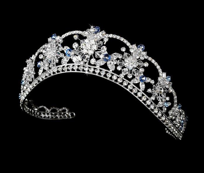 Silver Light Blue Swarovski Crystal Flower Bridal Tiara