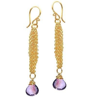 925 Sterling Silver Chain Amethyst Earrings
