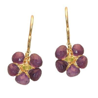 14K Gold Filled Flower Amehtyst Earrings