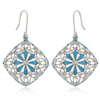 Rhodium Blue Enamel CZ Drop Earrings
