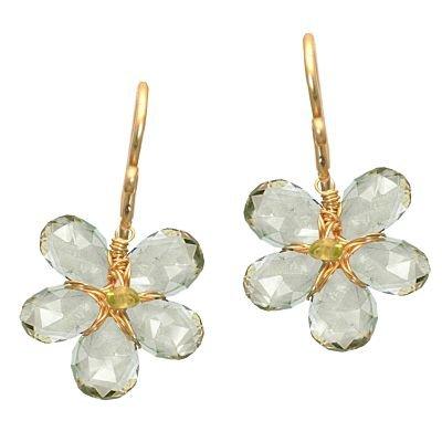 14K Gold Filled Flower Green Amehtyst Earrings