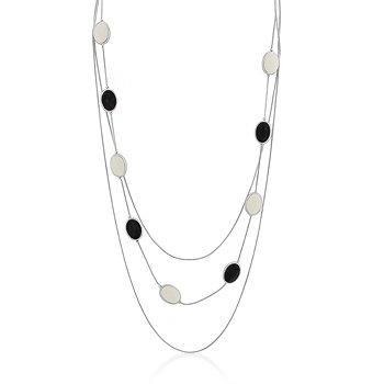 Rhodium Black Cream Multi-Chain Necklace