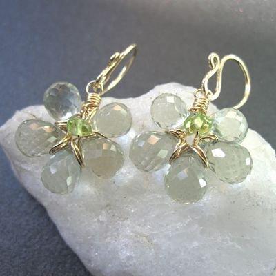 925 Sterling Silver Flower Green Amehtyst Earrings