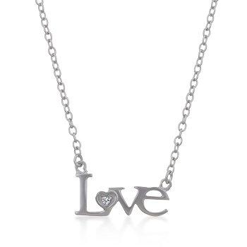 Rhodium Necklace Love CZ Pendant