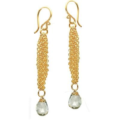 14K Gold Filled Chain Green Amethyst Earrings