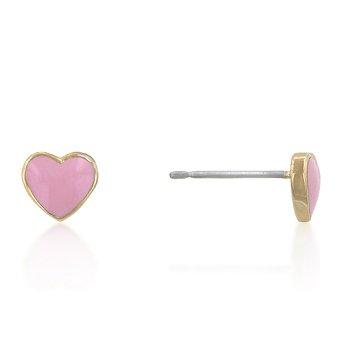 14K Gold Pink Heart Enamel Earrings