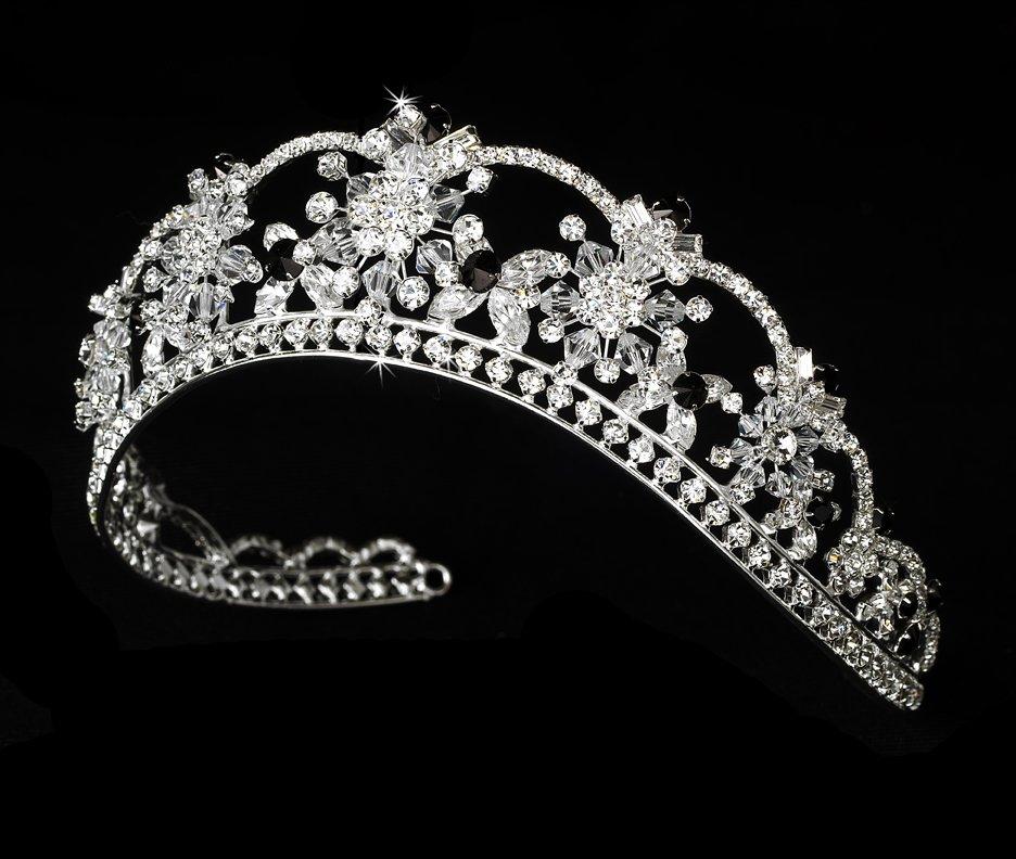 Silver Black Swarovski Crystal Flower Tiara