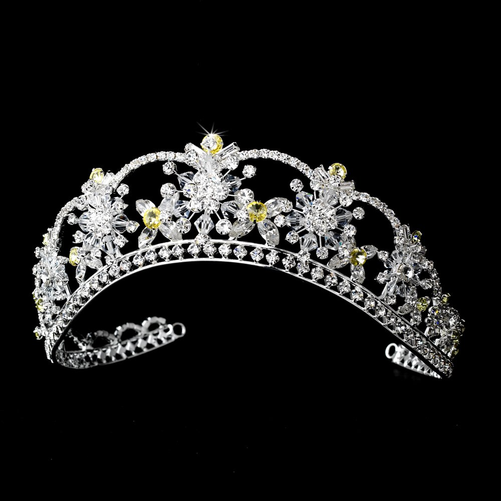 Silver Yellow Swarovski Crystal Flower Bridal Tiara