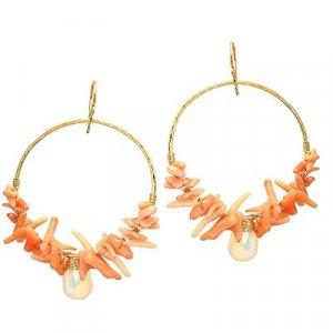 925 Sterling Silver Coral Moonstone Hoop Earrings