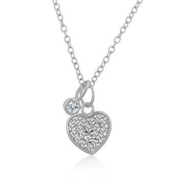 Classic Chain Neklace Heart CZ Pendant