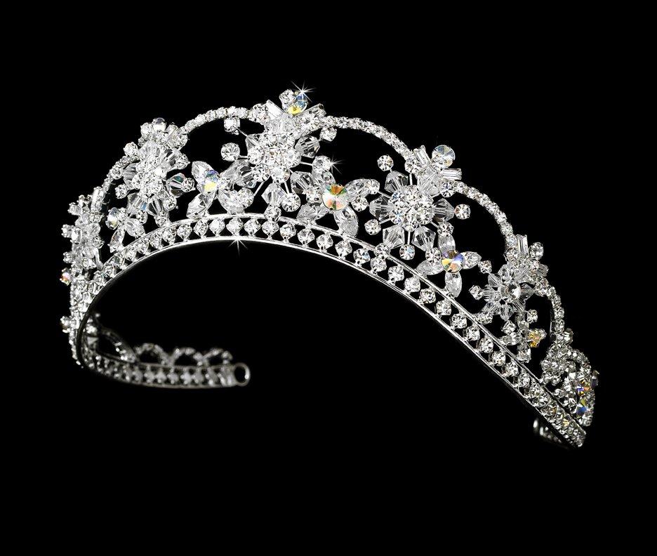 Silver AB Swarovski Crystal Flower Tiara