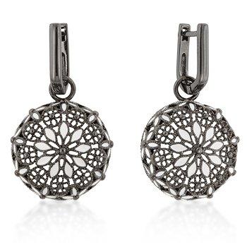 Black White Floral Enamel Drop Earrings