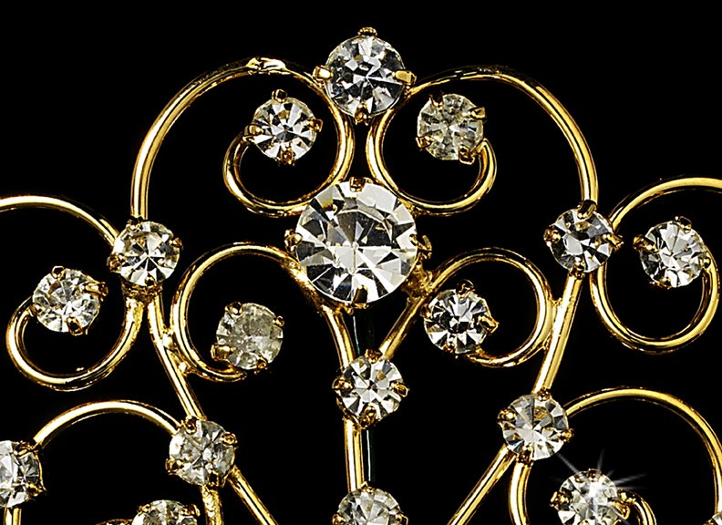 Gold Royal Rhinestone Crystal Bridal Tiara