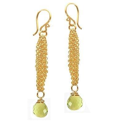 925 Sterling Silver Chain Lemon Quartz Earrings