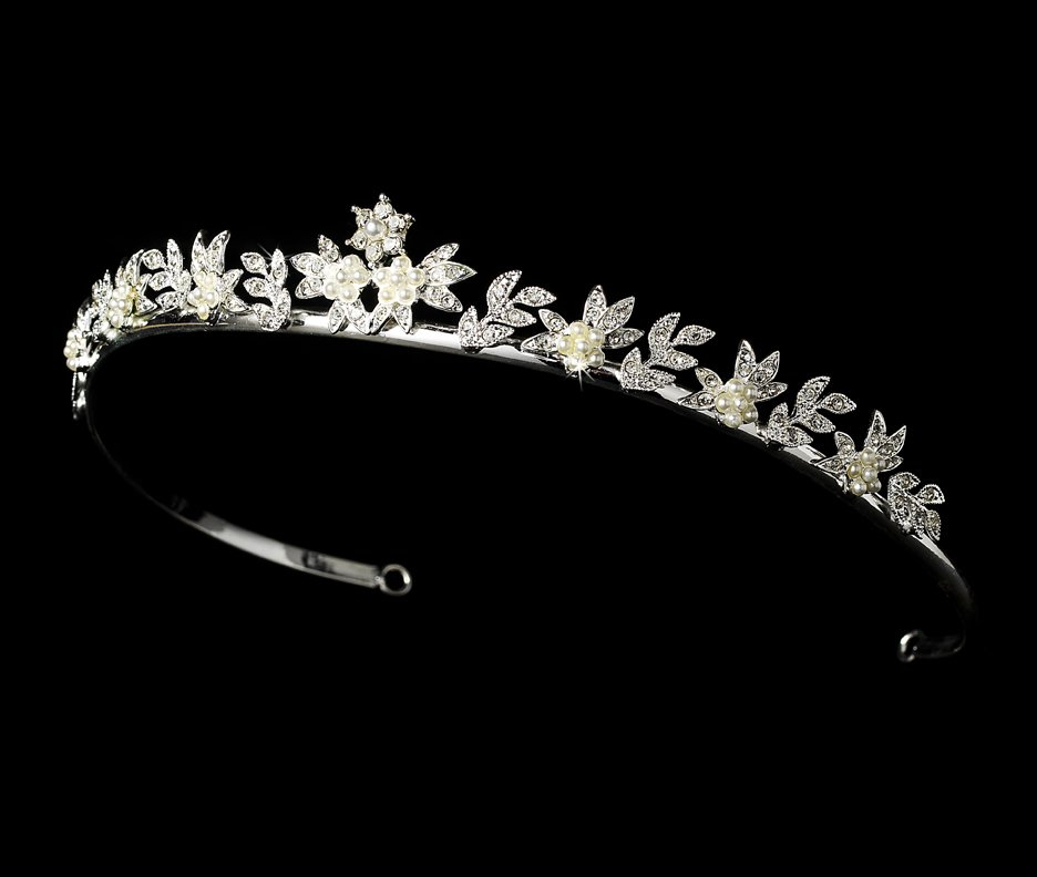 Silver White Pearl Crystal Flower Bridal Tiara