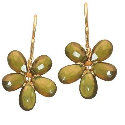 14K Gold Filled Flower Idocrase Earrings