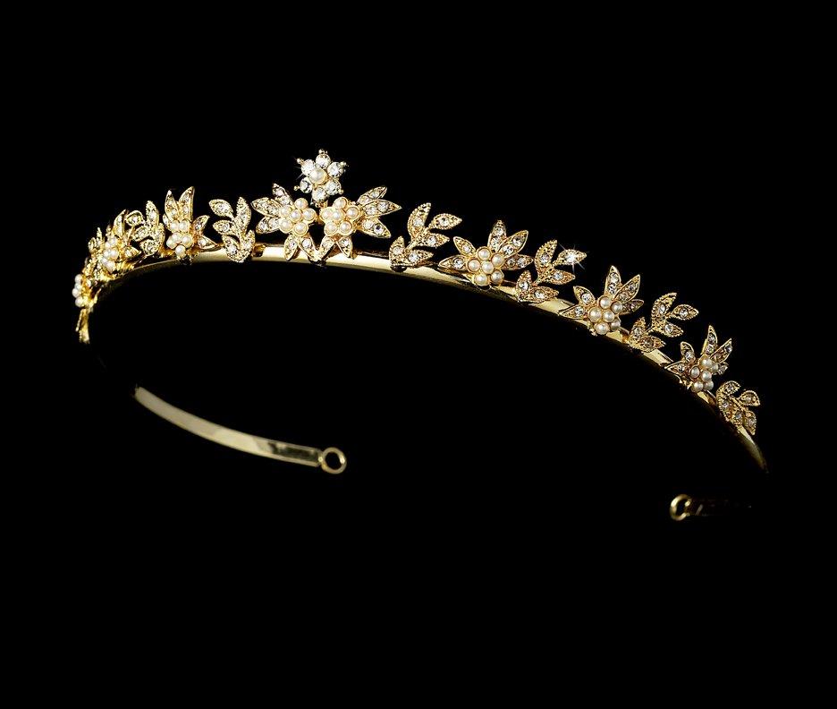 Gold Ivory Pearl Crystal Flower Bridal Tiara