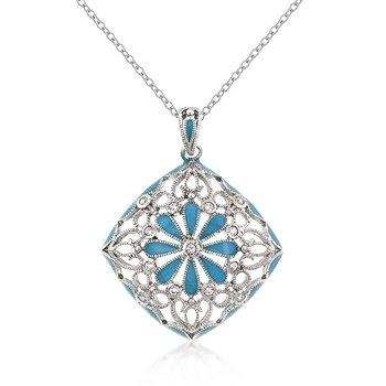 Rhodium Necklace Blue Floral CZ Pendant
