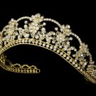 Gold Swarovski Crystal Flower Bridal Tiara