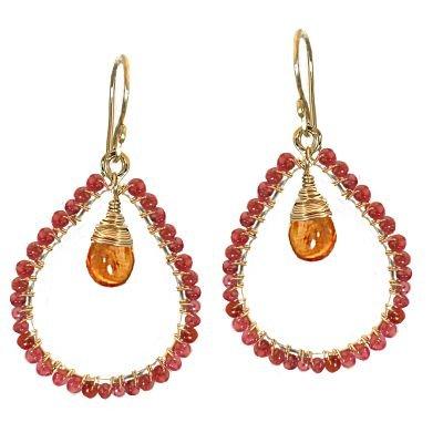 14K Gold Filled Mandarin Garnet Hoop Earrings