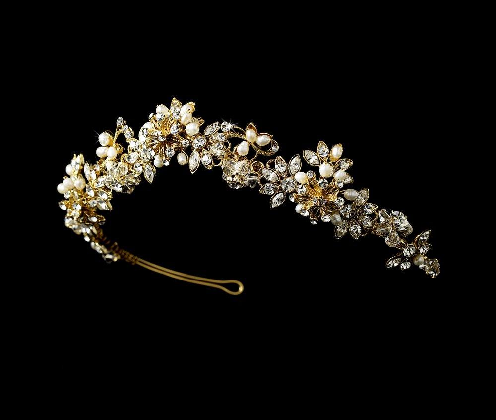 Gold Swarovski Crystal Pearl Floral Bridal Tiara