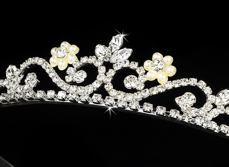 Silver Clear Crystal Pearl Floral Bridal Tiara