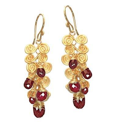 925 Sterling Silver Swirl Ruby Dangle Earrings
