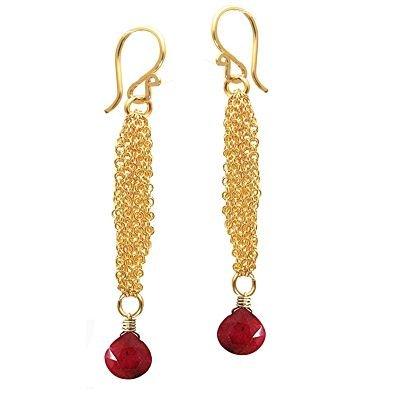 925 Sterling Silver Chain Ruby Earrings