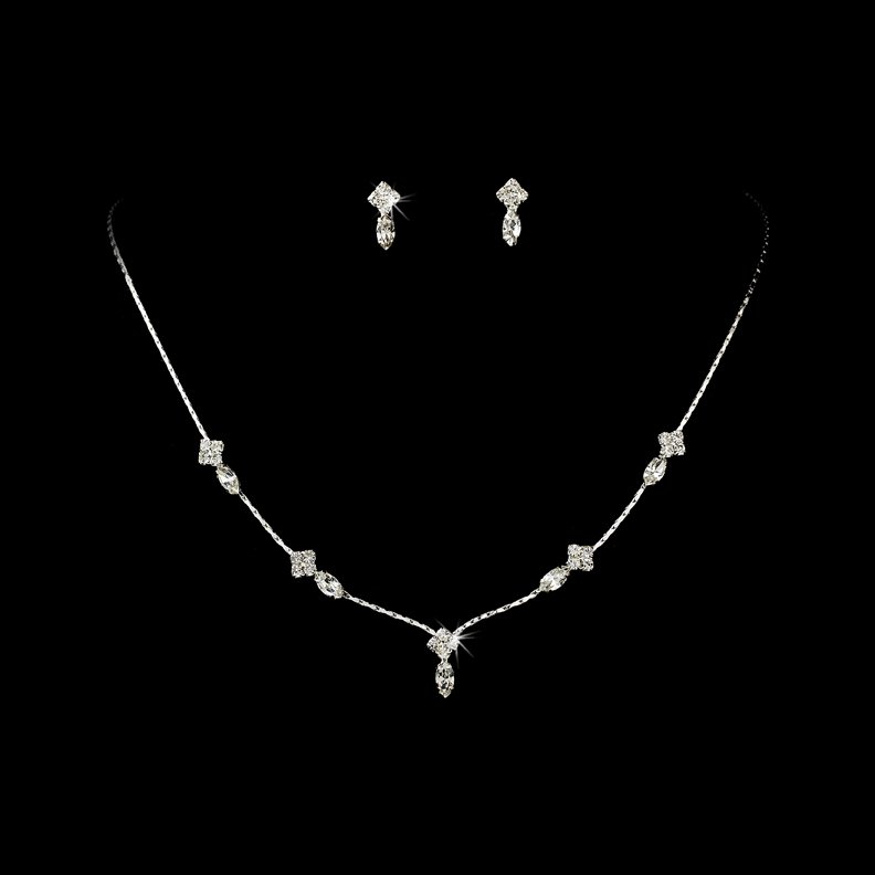 Silver Clear Crystal Dainty Necklace Earring Set