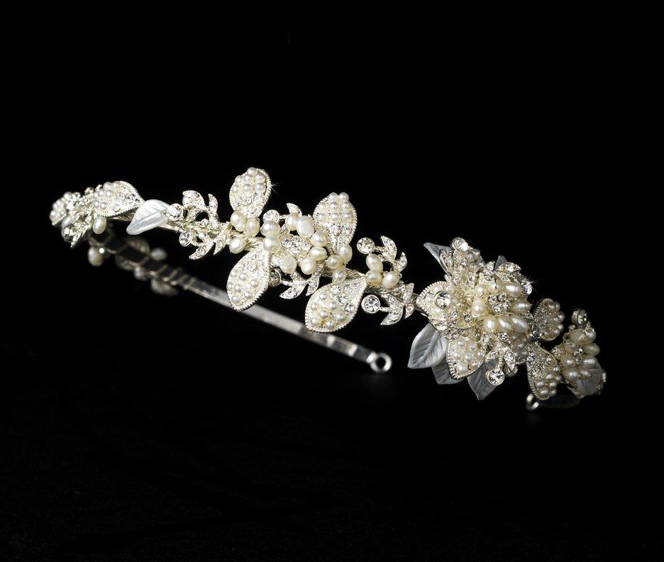 Silver Crystal White Pearl Floral Bridal Headband Tiara