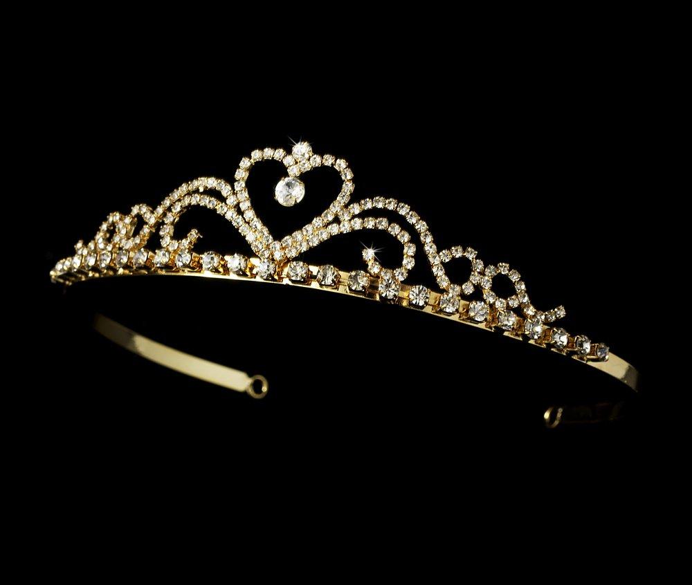 Gold Clear Rhinestone Crystal Heart Tiara Headband