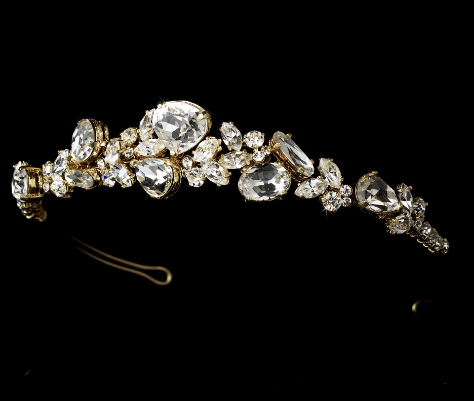 Gold Rhinestone Crystal Bridal Tiara Headband