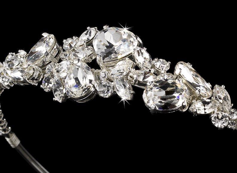 Silver Rhinestone Crystal Bridal Tiara Headband