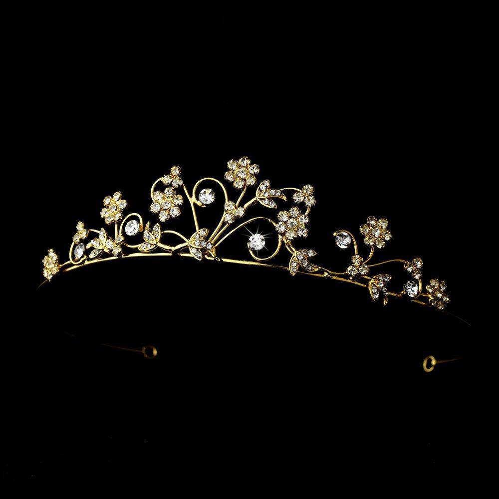 Gold Flower Rhinestone Crystal Tiara Headband
