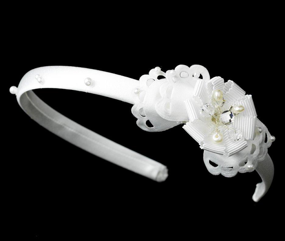 White Ribbon Pearl Rhinestone  Bridal Headband