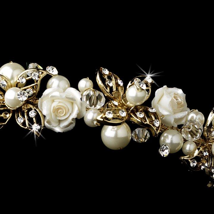 Gold Ivory Pearl Rhinestone Rose Tiara Headband