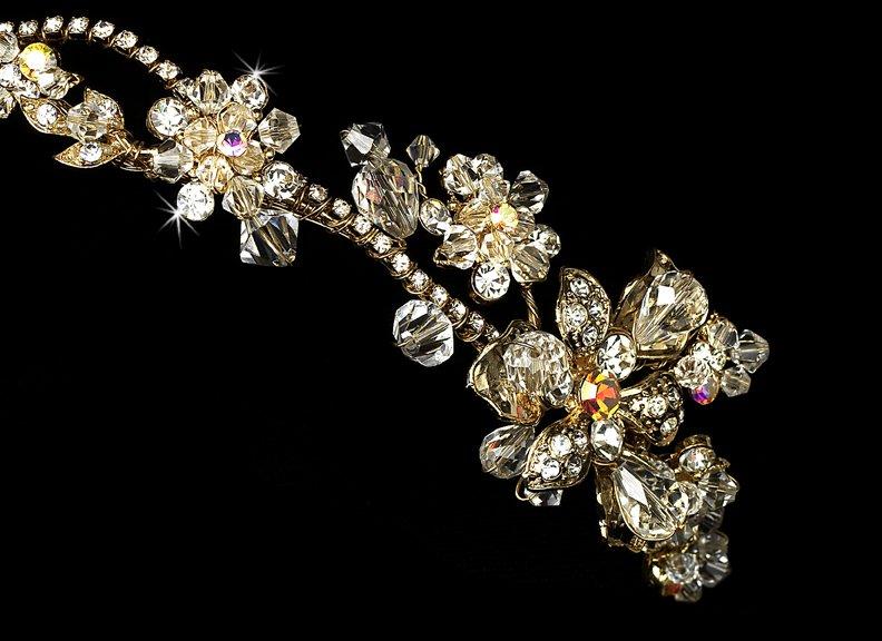 Gold AB Swarovski Crystal Bridal Headband Tiara