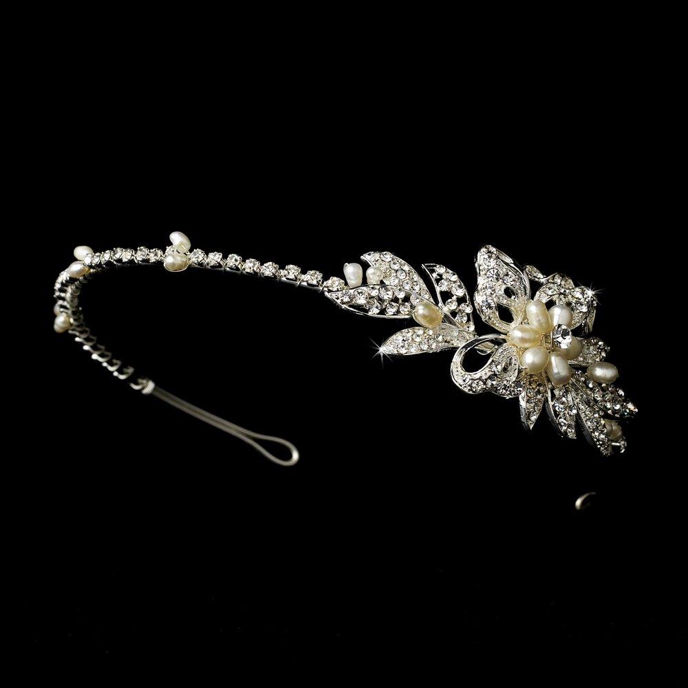 Silver Clear Rhinestone Ivory Pearl Headband Tiara