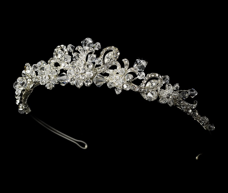 Silver Swarovski Crystal Bridal Tiara Headband