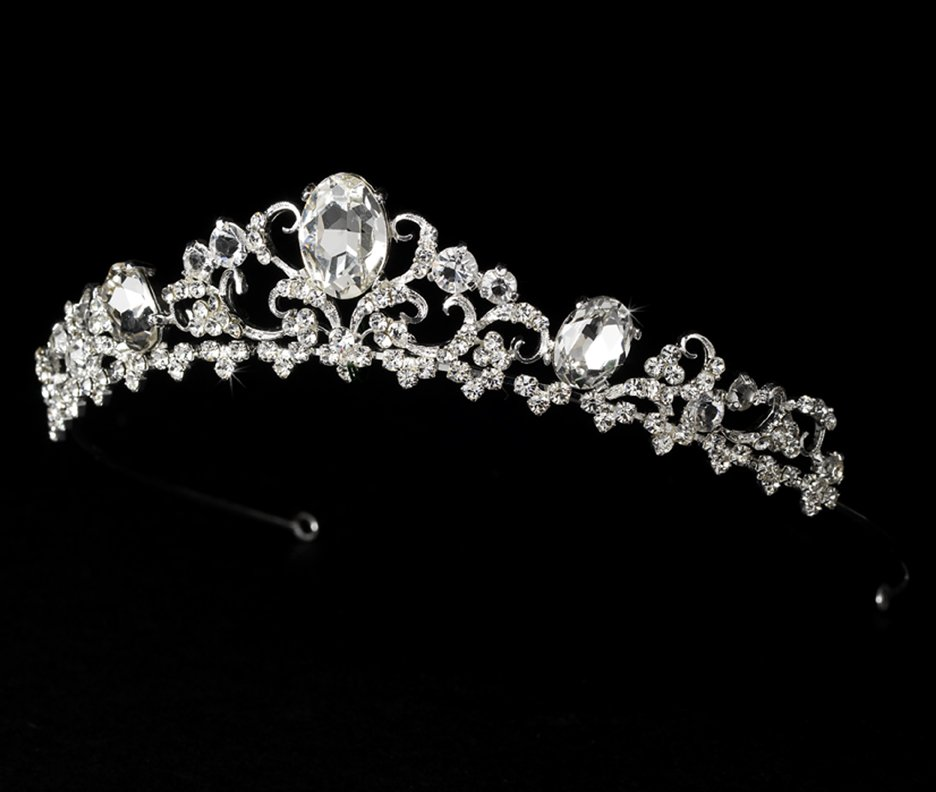 Silver Rhinestone Floral Bridal Tiara Headband