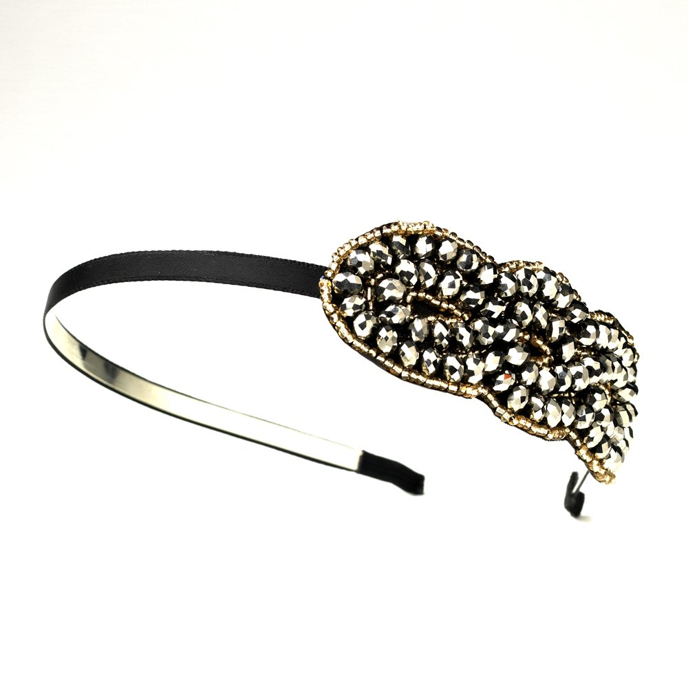 Silver Brown Austrian Crystal Bead Headband
