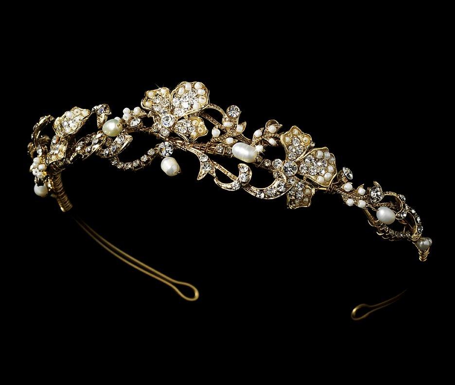 Gold Rhinestone Ivory Pearl Elegant Tiara Headband