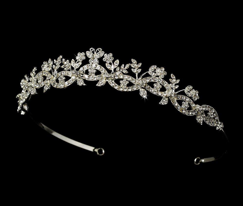 Silver Rhinestone Crystal Butterfly Tiara Headband