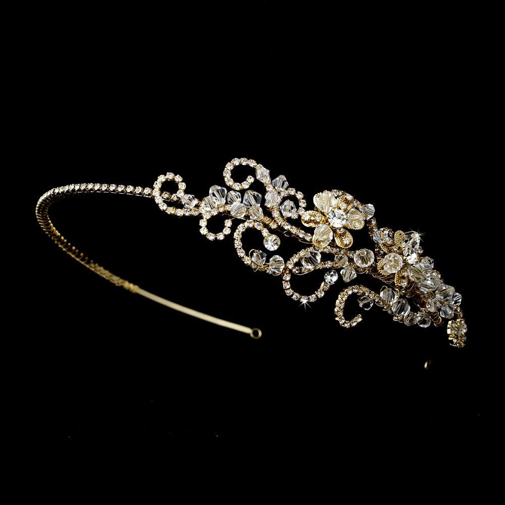 Gold Swarovski Rhinestone Bridal Headband Tiara