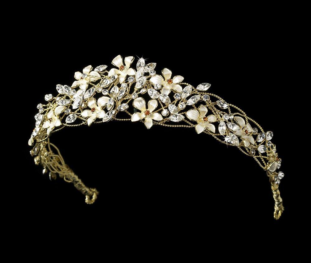 Gold Ivory Floral Rhinestone Crystal Tiara Headband