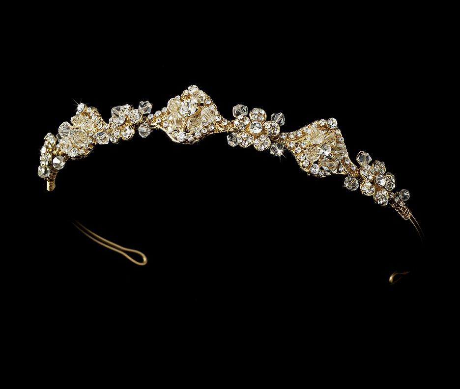 Gold Swarovski Crystal Vintage Bridal Headband Tiara
