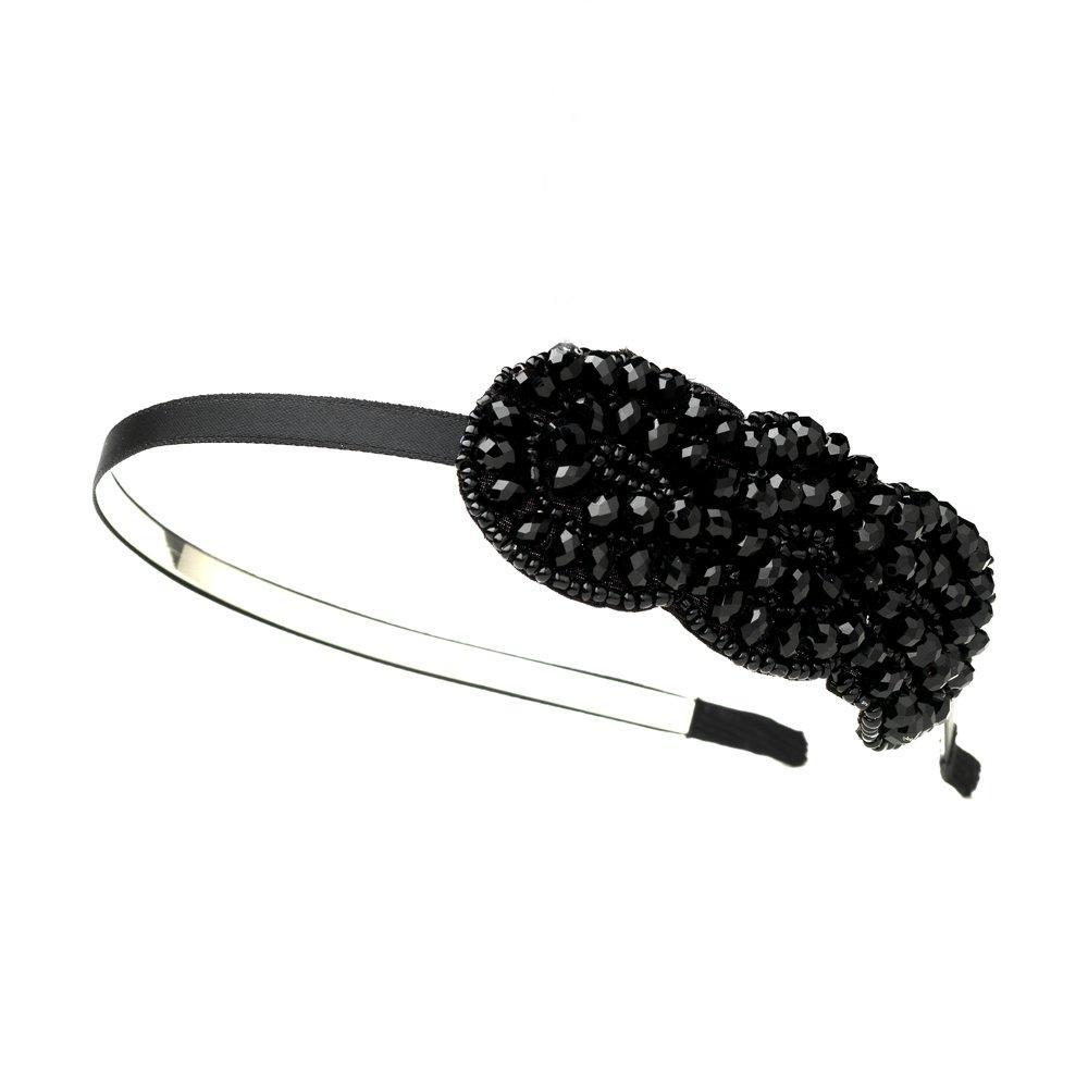 Silver Black Austrian Crystal Bead Headband