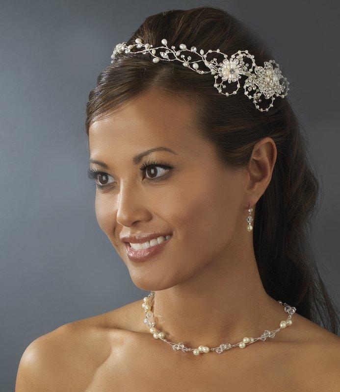 Silver Freshwater Pearl Circlet Bridal Headband Tiara